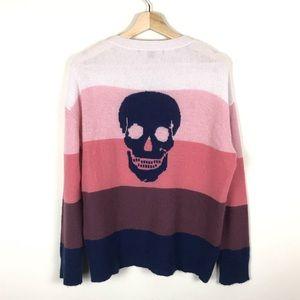 Skull Cashmere Pink Stripe Sweater - XS